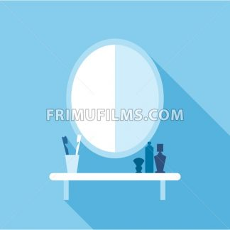 Digital vector shelf with accessories in bathroom, mirror, tooth brush, shaving cream, flat style - frimufilms.com