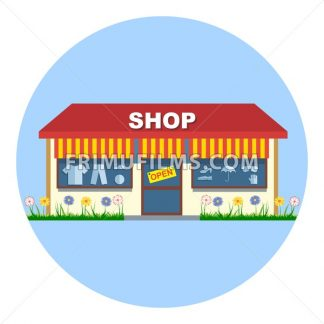 Digital vector shop storefront with open sign, red and yellow stripes, shoes and clothes, flowers, flat style - frimufilms.com