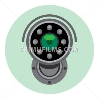 Digital vector silver and black surveillance camera icon, flat style. - frimufilms.com
