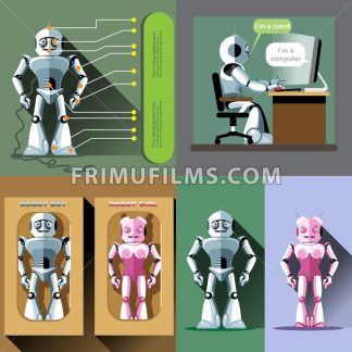 Digital vector silver and pink happy male and female robot set, working on computer, ready for sale in package, flat style - frimufilms.com