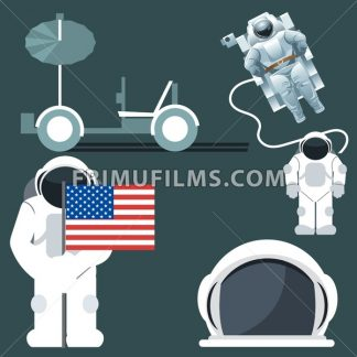 Digital vector silver and white astronauts icon set with cosmonaut and usa flag and helmet over dark background, flat style. - frimufilms.com