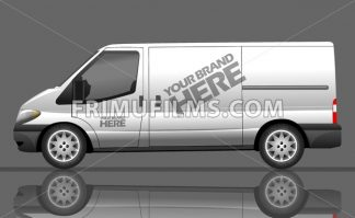 Digital vector silver and white realistic vehicle car bus mockup, ready for your logo and design, flat style - frimufilms.com