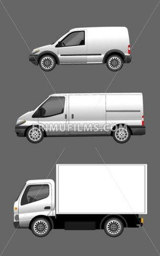 Digital vector silver and white realistic vehicle car set mockup, ready for your logo and design, flat style - frimufilms.com