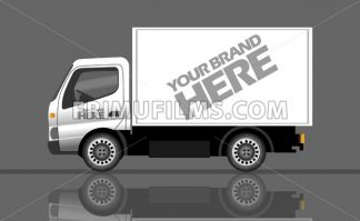 Digital vector silver and white realistic vehicle truck car mockup, ready for your logo and design, flat style - frimufilms.com