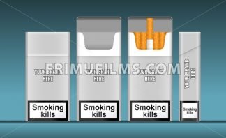 Digital vector silver cigarette pack mockup, front and lateral view, smoking kills, realistic flat style, isolated and ready for your design and logo - frimufilms.com