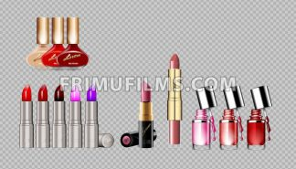 Digital vector silver container and colored glamorous lipsticks and nail polish set mockup, with your brand, ready for print ads or magazine design. Glossy and shine, realistic 3d style - frimufilms.com