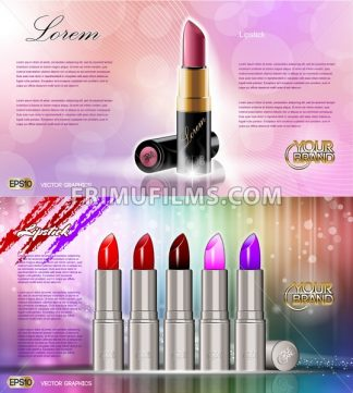 Digital vector silver container and colored glamorous lipsticks set mockup, with your brand, ready for print ads or magazine design. Glossy and shine, realistic 3d style - frimufilms.com