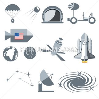 Digital vector silver cosmos icons set with space ship, planet earth, moon, galaxy and constellation over white background, flat style. - frimufilms.com