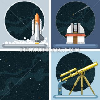 Digital vector silver cosmos rocket icons set with launch, ancient observatory, commet, antenna and empty space over stelar background, flat style. - frimufilms.com