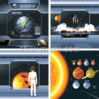 Digital vector silver cosmos ship icons set with solar system, shuttle dashboard, cosmonaut, rocket launch and empty space over stelar background, flat style. - frimufilms.com