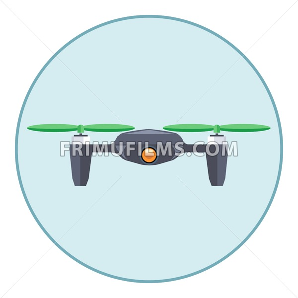 Digital vector silver drone with recording camera, in blue circle, flat style - frimufilms.com
