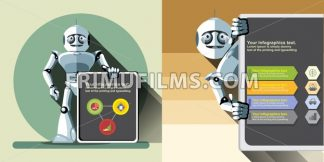 Digital vector silver happy robot presenting infographic with charts, flat style - frimufilms.com