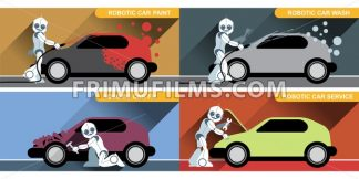 Digital vector silver happy robot set at autoservice fixing cars, painting and washing, flat style - frimufilms.com