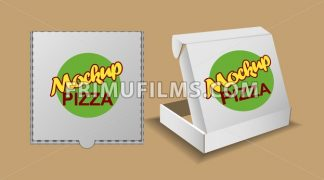 Digital vector silver recycle paper pizza delivery box mockup, ready for your logo and design, flat style - frimufilms.com