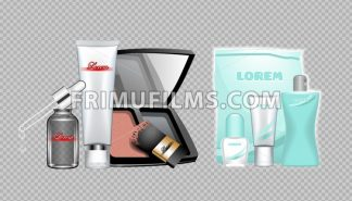 Digital vector skin care cream, lotion, mascara and mirror cosmetic container set mockup collection, package, magazine design. Transparent and shine template, realistic 3d style - frimufilms.com