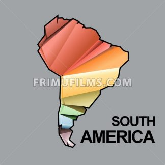 Digital vector south america map with abstract colored triangles and black outline, flat style - frimufilms.com