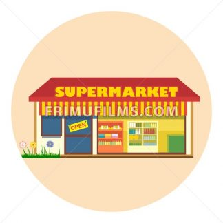 Digital vector super market building icon with open storefront and product shelves, flat style - frimufilms.com