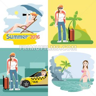 Digital vector touristic summer vacation destination set, girl at the beach, taxi, flat style. - frimufilms.com