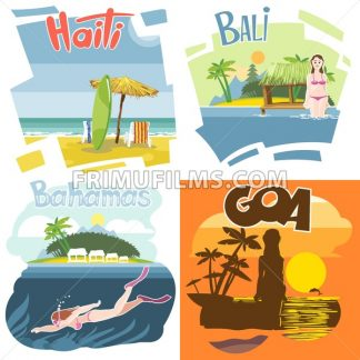 Digital vector touristic vacation destination set, Haiti, Bahamas, Bali and Goa, girl surfing and diving, sunset, flat style. - frimufilms.com