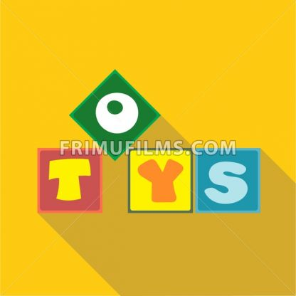 Digital vector toys box letters, over yellow background, flat style - frimufilms.com