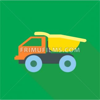 Digital vector truck car toy, over green background, flat style - frimufilms.com