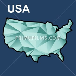 Digital vector usa map with abstract green triangles and black outline, flat style - frimufilms.com