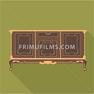 Digital vector vintage green cabinet furniture, desk for home and office over khaki background, flat style - frimufilms.com
