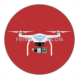 Digital vector white drone with recording camera, in red circle, flat style - frimufilms.com
