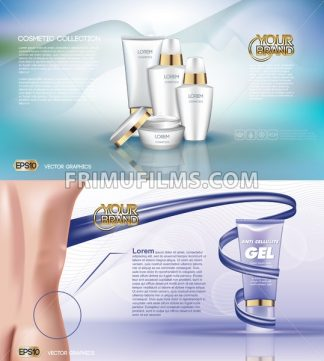 Digital vector white matte surface skin care cream cosmetic container mockup collection, your brand, ready for print ads or magazine design. Golden stripe. Transparent and shine, realistic 3d style - frimufilms.com