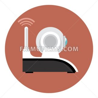 Digital vector white wi-fi and web camera with antenna icon, flat style. - frimufilms.com