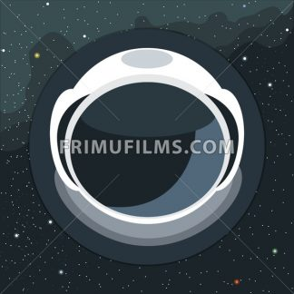 Digital vector with astronaut helmet icon, over background with stars, flat style - frimufilms.com