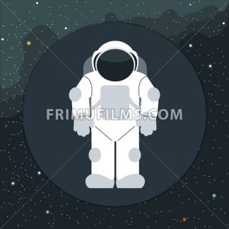 Digital vector with astronaut in space icon, over background with stars, flat style - frimufilms.com
