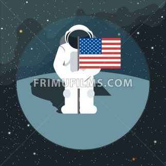 Digital vector with astronaut sign with usa flag in space, over background with stars, flat style - frimufilms.com