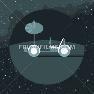 Digital vector with moon rover vehicle icon, over background with stars, flat style - frimufilms.com