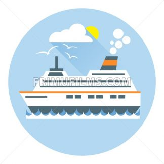 Digital vector with ocean ship boat icon with sun and birds, over white background with waves and water, flat style - frimufilms.com