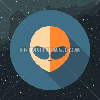 Digital vector with orange alien head sign, over background with stars, flat style - frimufilms.com