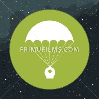 Digital vector with space capsule and parachute icon, over background with stars, flat style - frimufilms.com