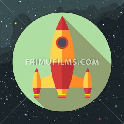 Digital vector with space rocket icon, over background with stars, flat style - frimufilms.com