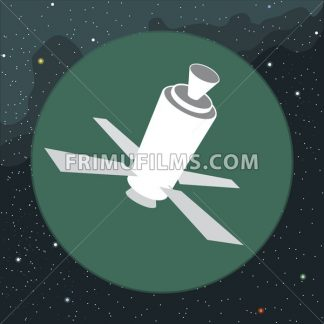 Digital vector with space satellite icon, over background with stars, flat style - frimufilms.com