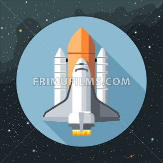 Digital vector with space shuttle icon, over background with stars, flat style - frimufilms.com