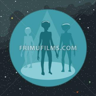Digital vector with ufo aliens coming, over background with stars, flat style - frimufilms.com