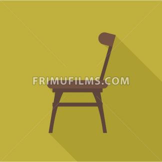Digital vector wooden brown chair with shadow over dark yellow background, flat style - frimufilms.com