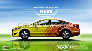 Digital vector yellow and red 4 seats sedan sport car mockup, ready for print or magazine design. Your brand, customize your decals. Blue and green background. Transparent, realistic 3d, reflection - frimufilms.com