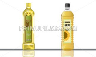 Digital vector yellow olive and sunflower oil plastic or glass bottle mockup, ready for your logo and design, flat style - frimufilms.com