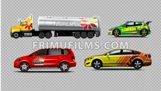 Digital vector yellow red and green sedan sport cars mockup, van and fuel tank truck. Your brand. Isolated. Transparent, realistic 3d, reflection - frimufilms.com