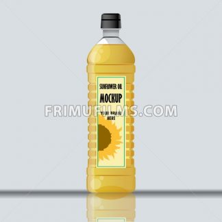 Digital vector yellow sunflower oil plastic bottle mockup, ready for your logo and design, flat style - frimufilms.com