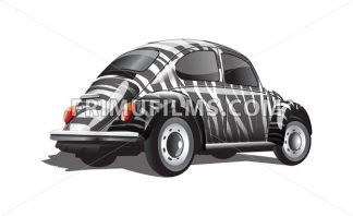 Digital vector zebra strips colored retro realistic car, back view - frimufilms.com