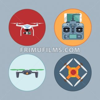 Drone set flat style. Remote controled copter, mobile phone, control board. Digital vector image - frimufilms.com