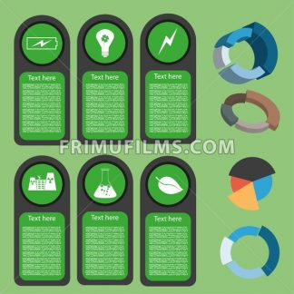 Ecological business green infographic with icons and 3d charts, flat design. Digital vector image - frimufilms.com