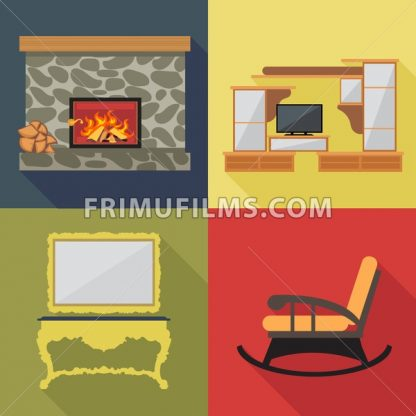 Fireplace home decoration icon set, flat style. Digital vector image - frimufilms.com